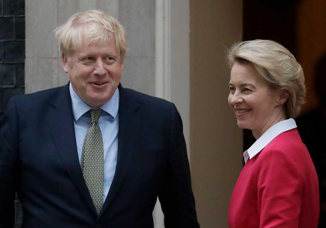 Den brittiske premiärministern Boris Johnson och EU-kommissionens ordförande Ursula von der Leyen. Arkivbild