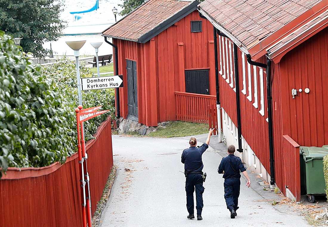 Police officers patrolling in Strängnäs.