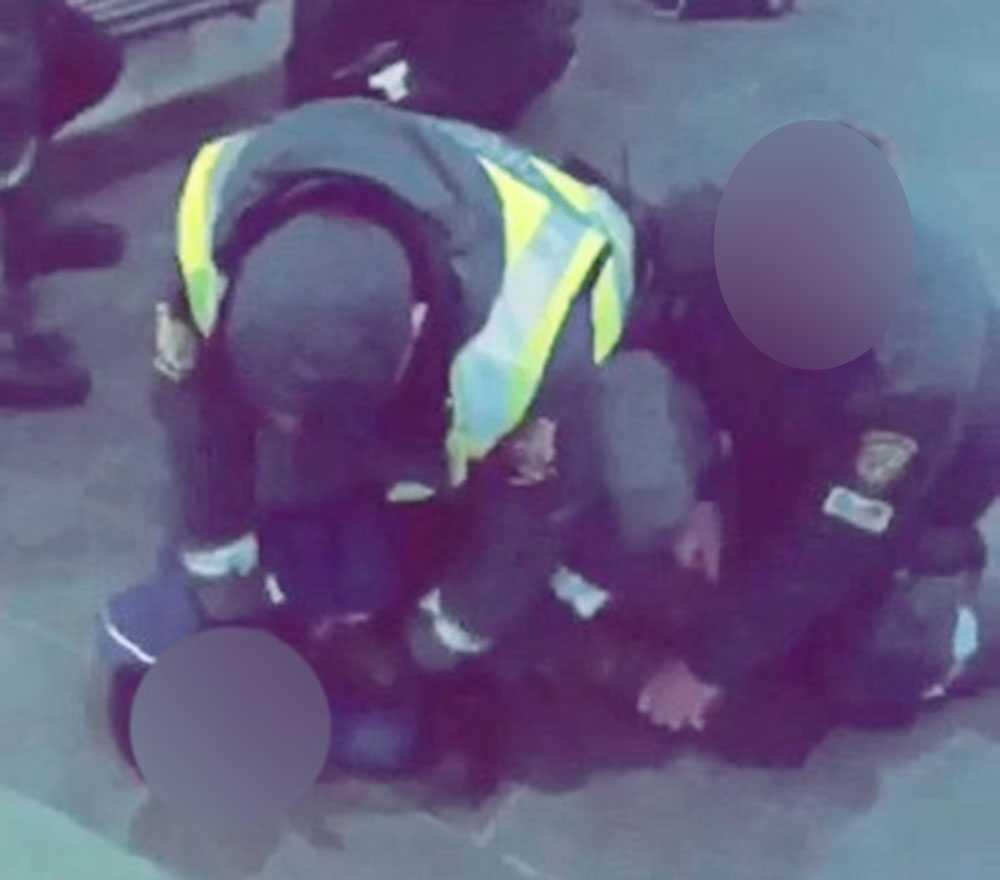 Pojken brottas ner av vakterna.