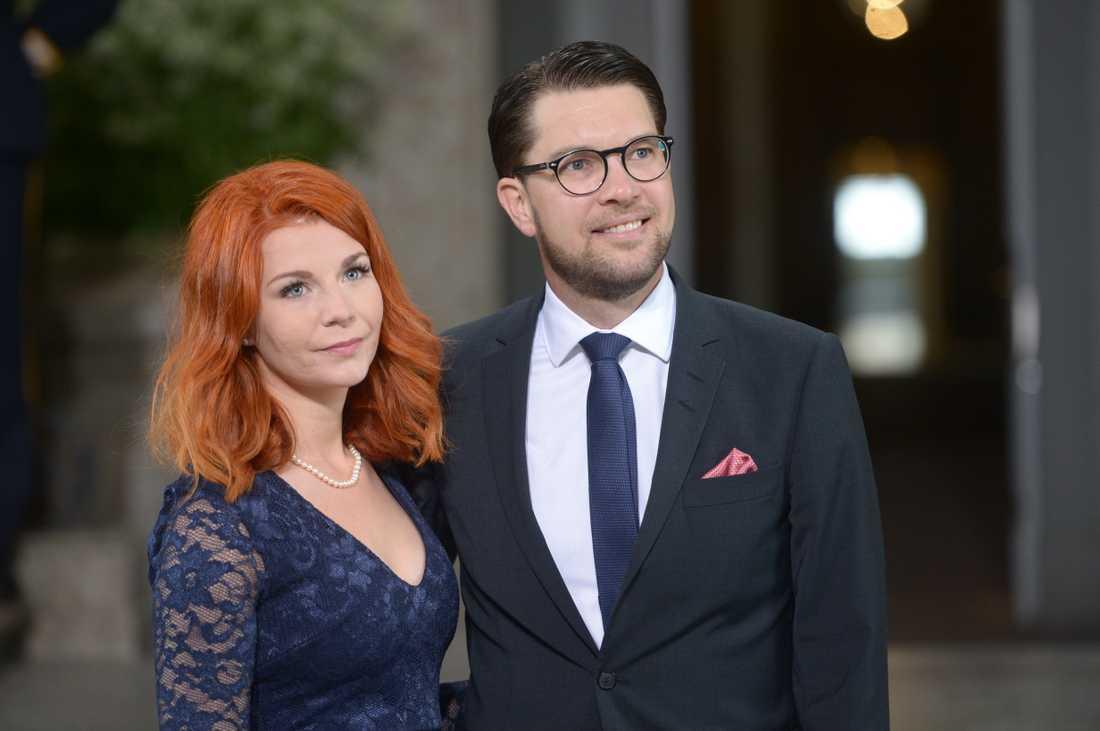 Louise Erixon, Sverigedemokraterna, med Jimmie Åkesson, på prins Oscars dop.