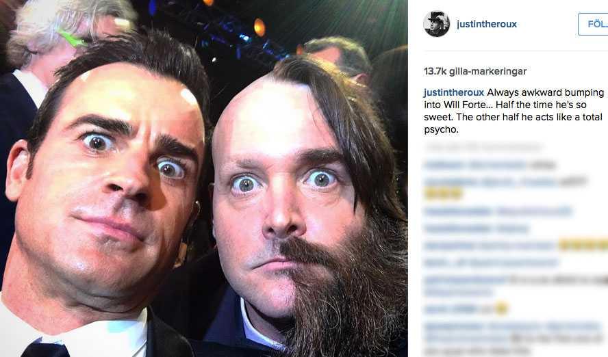 """""""Halva tiden är han så söt. Den andra halvan beter han sig som ett totalt psyko"""" skriver Theroux på Instagram"""