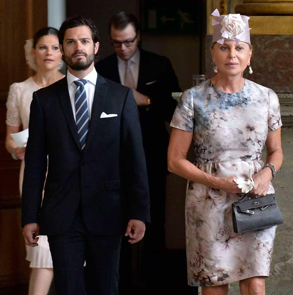 Chris O'Neills mamma Eva O'Neill med prins Carl Philip.