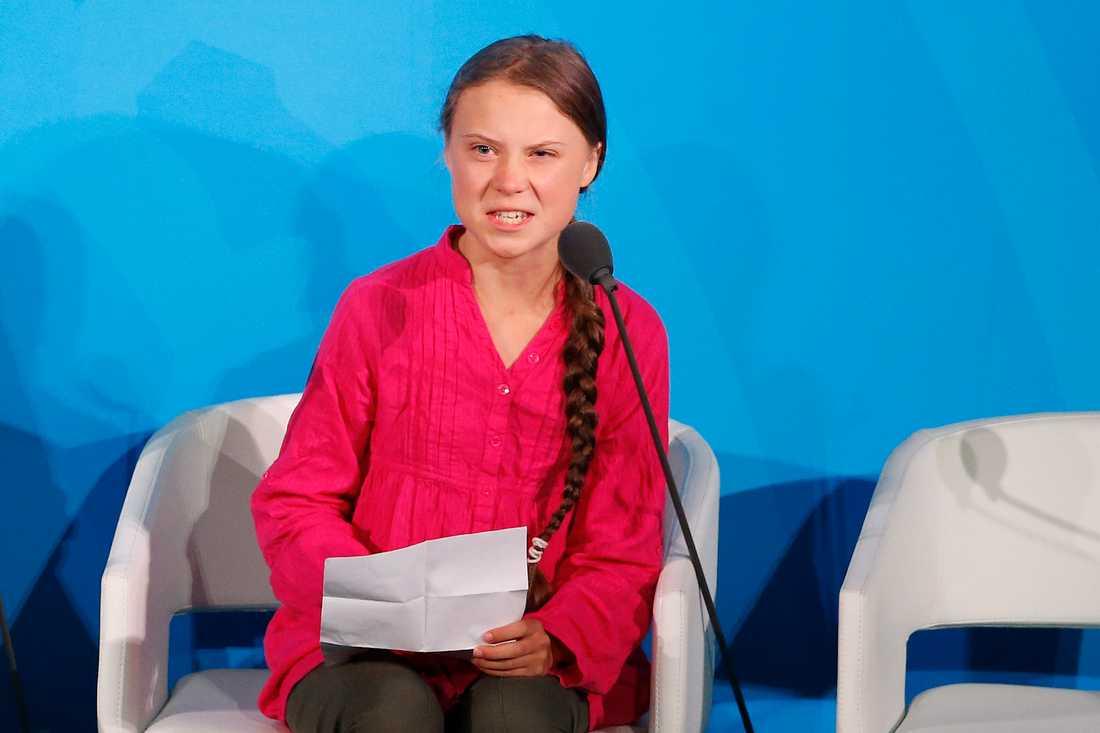 Greta Thunberg talar inför FN:s generalförsamling.