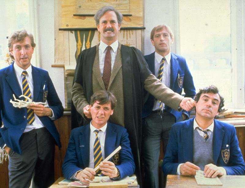 Terry Jones, längst ned till höger, tillsammans med de forna kollegorna i Monty Python-gänget.
