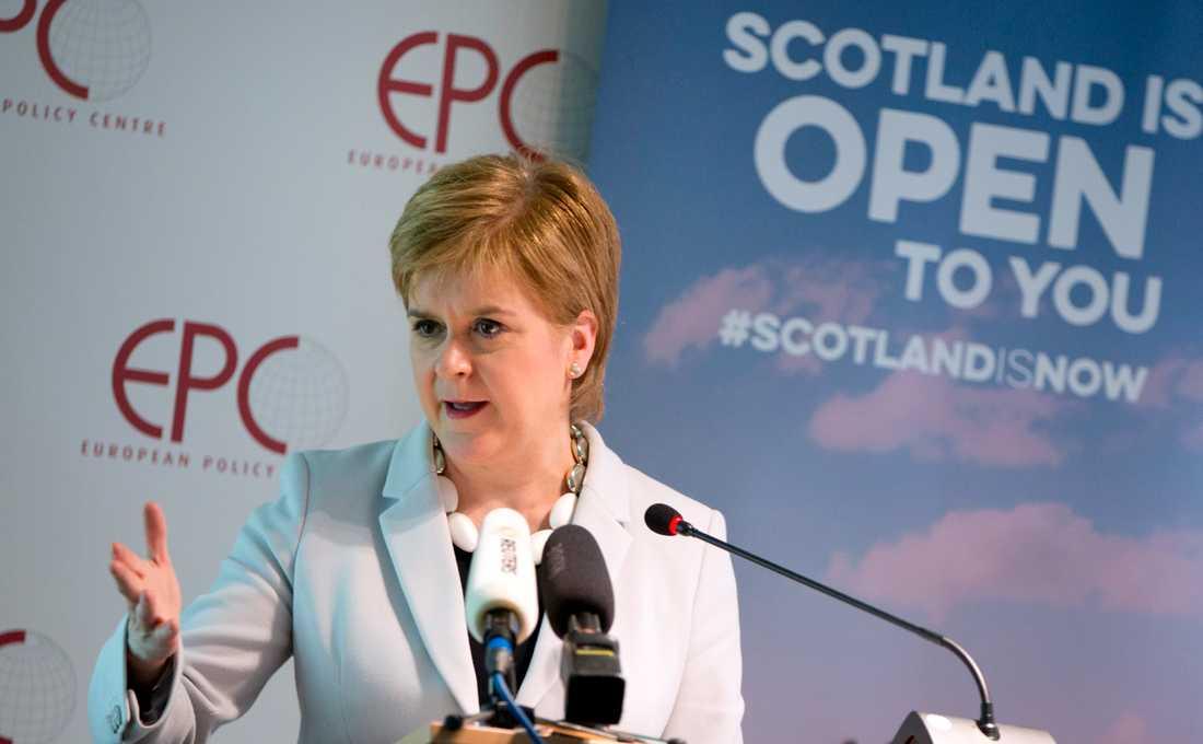 Skottlands regionala regeringschef Nicola Sturgeon talar på tankesmedjan EPC i Bryssel.