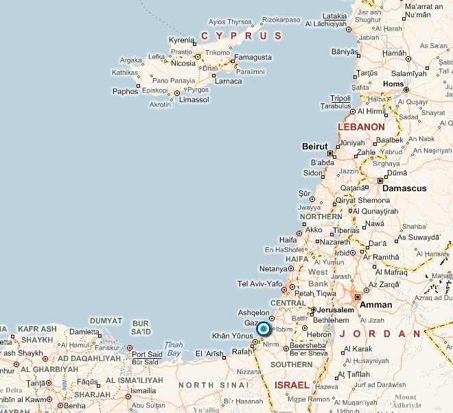 Här ligger Gaza.