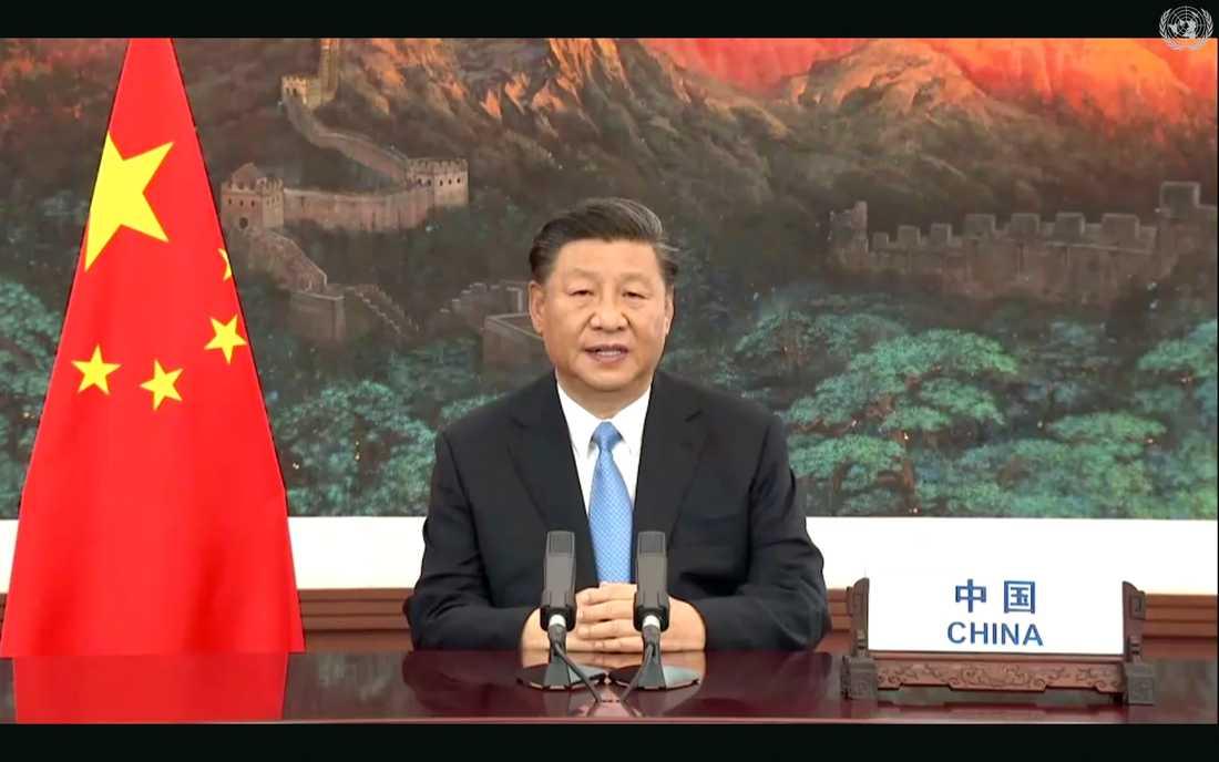 Kinas president Xi Jinping under sitt videotal till FN:s generalförsamling i tisdags.