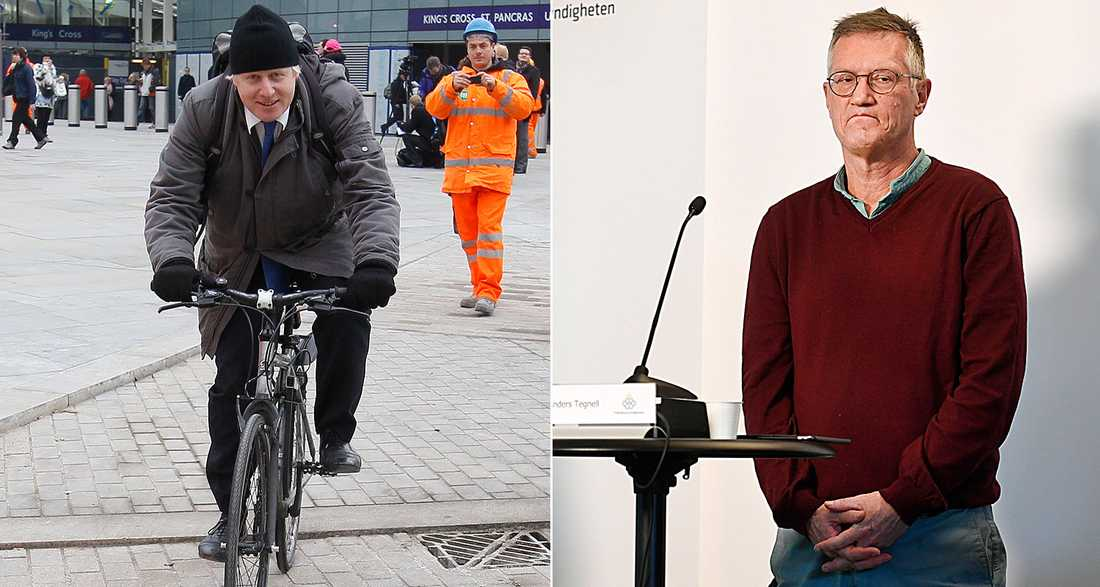 Boris Johnson strävar efter att vara en engelsk excentriker, men Sverige (här personifierad av Anders Tegnell) är minst lika excentriskt, skriver Peter Kadhammar.
