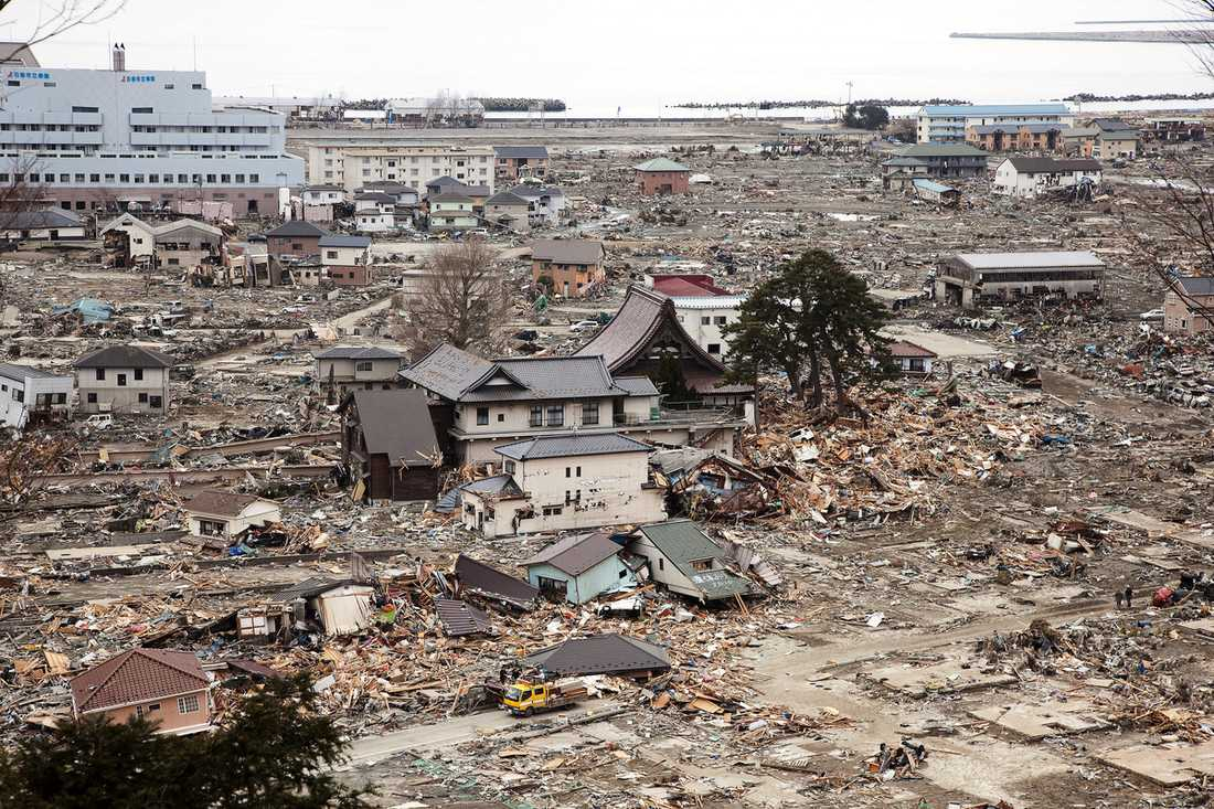 har blivit en spökstad Av de 20 000 som mist livet i katastrofen i Japan har 10 000 dött bara i Ishinomaki. Samtidigt saknas fortfarande 8 000 personer och många kroppar finns fortfarande kvar i husen och bland bråten. Utanför stadens kriscentrum hänger en skylt som berättar att de har fullt, och i de små lokalerna trängs 1 200 människor.