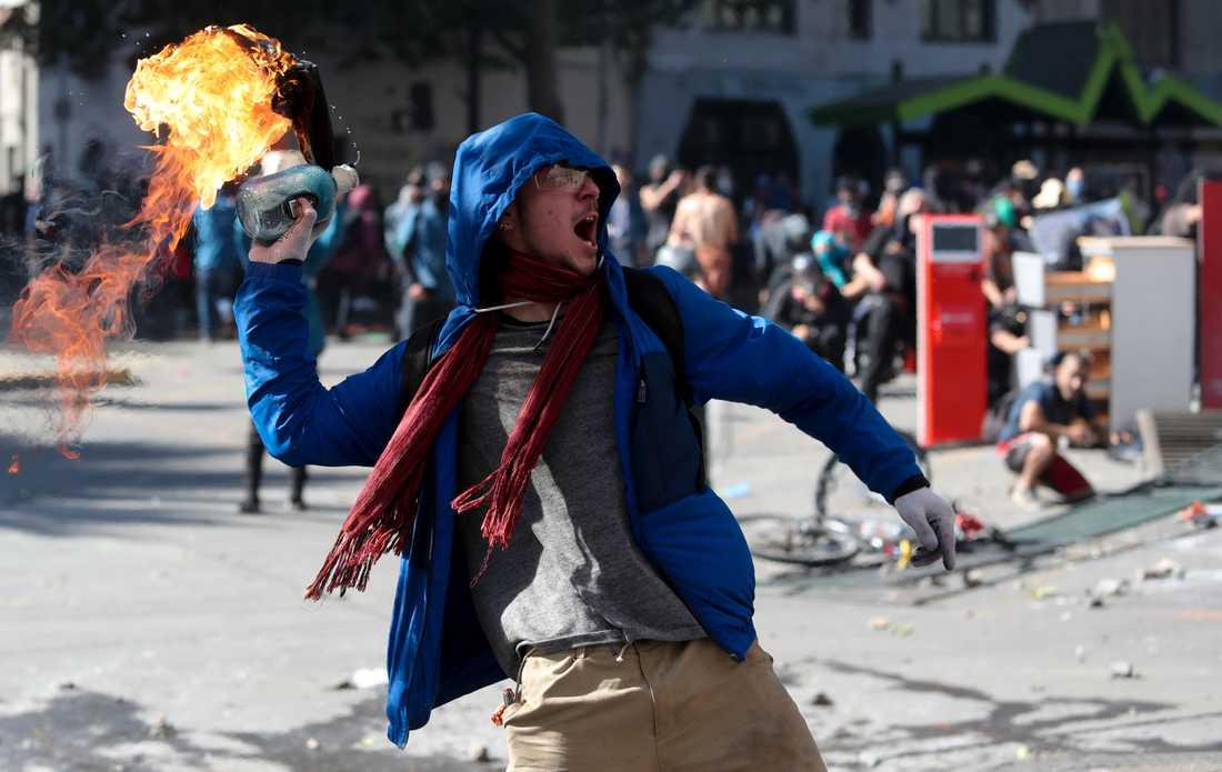 Protester i Santiago, Chile.