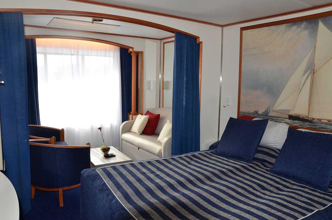 Hytterna i Commodore class (bland de dyraste på fartyget, över 7000 kr för hytten två nätter) har renoverats och fått nya färger.