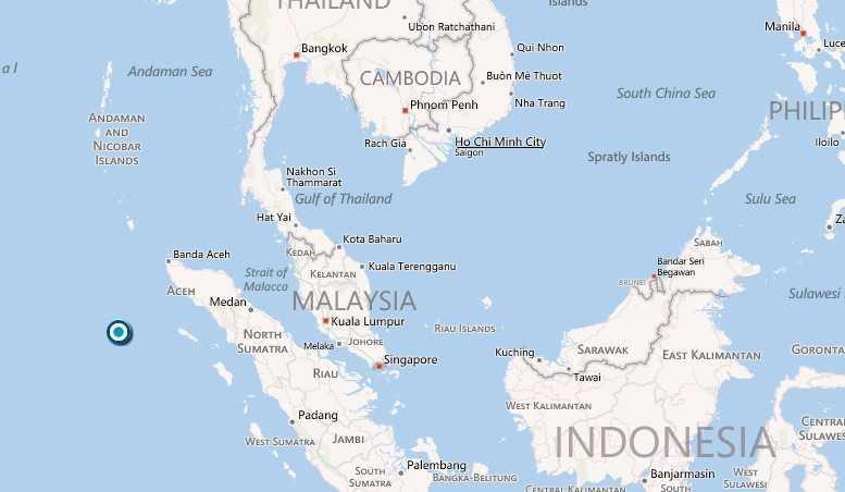 Här utanför Indonesien inträffade jordskalvet.