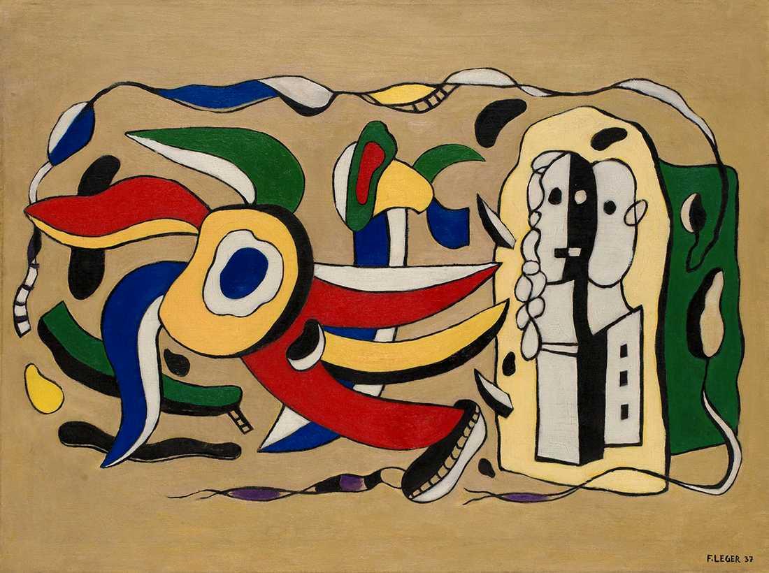 """Målningen """"Composition murale"""" av Fernande Léger som Eva Lundin köpte av sitt eget auktionshus 2007. Nu misstänks tavlan vara förfalskad."""