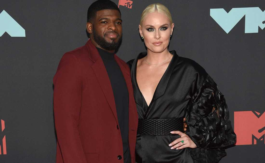 P.K Subban och Lindsey Vonn anländer till MTV-galan i Newark. Vonn stoltserande med den gröna 300000-dollar-ringen.