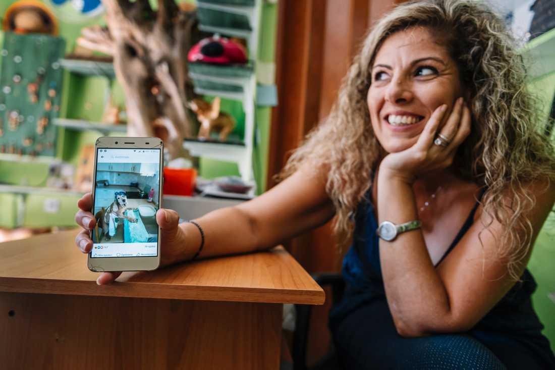 När Grekland och Rhodos stängde ner i mitten av mars fördrev Sofia Mitropoulou tiden genom att göra roliga videoklipp med sin man. Här visar hon en bild på sin hund som också fick bli del av underhållningen.