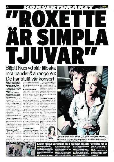 Tidigare artiklar i Nöjesbladet.