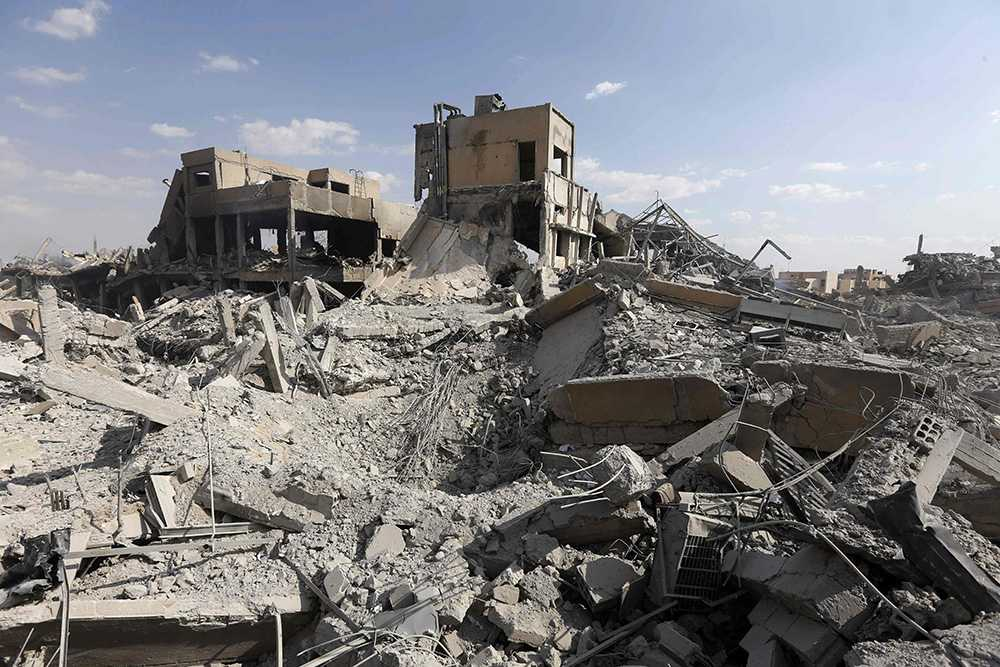 Resterna av ett vapenforskningscenter i Syrien.