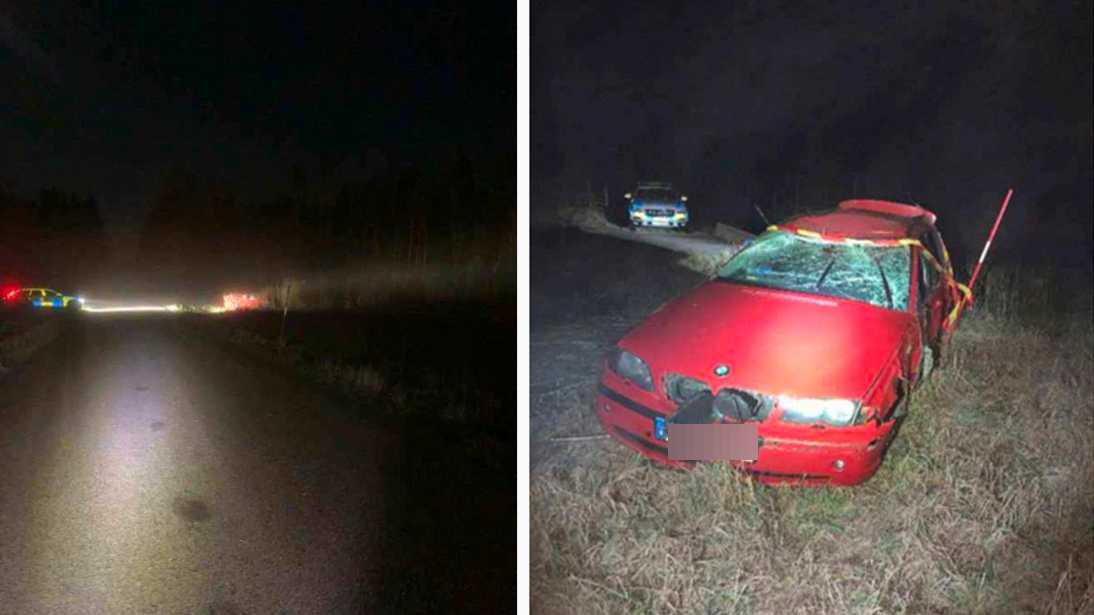 Bilen låg upp-och-ner när räddningstjänsten kom fram.