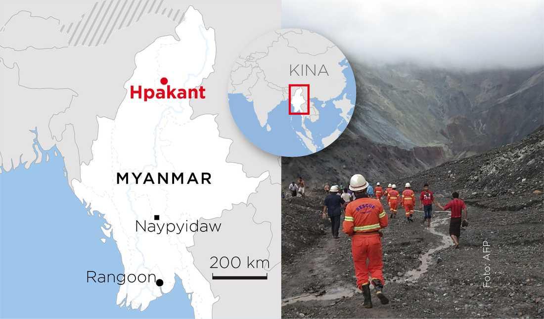 Dödliga jordskred sker inte sällan i området Hpakant i norra Myanmar.