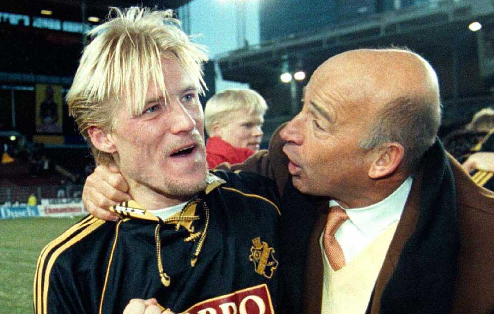 Johan Mjällby efter SM-guldet med AIK 1998.