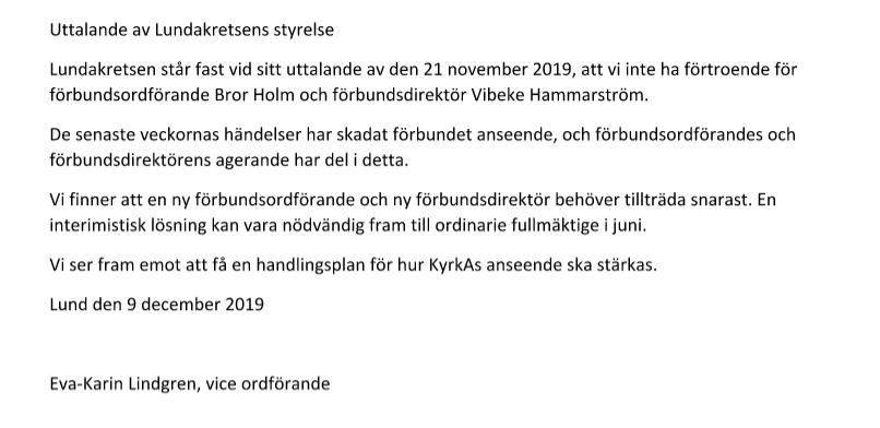 Den lokala stiftskretsen i Lund kräver nu att förbundsdirektör Vibeke Hammarström och förbundsordförande Bror Holm avgår.
