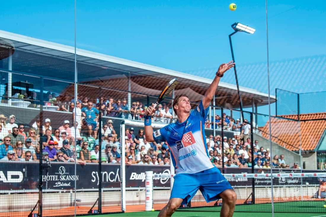 Francisco Navarro Compán under finalen i Swedish Padel Open den 29 juli 2018 i Båstad.