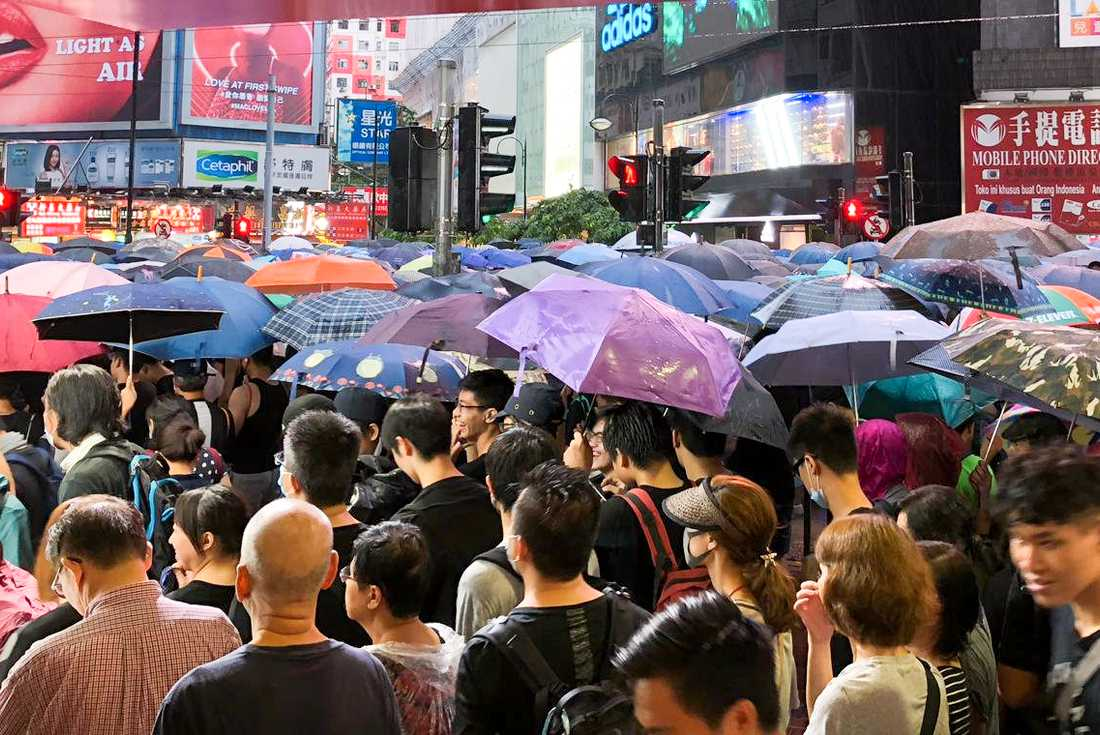 Demonstranter i Hongkong.