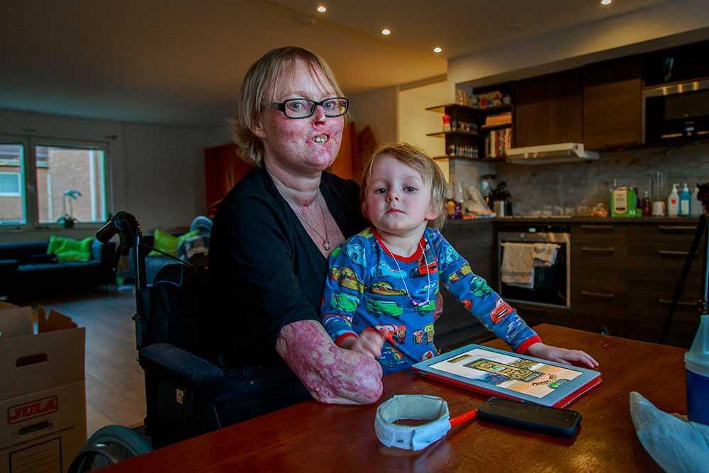Christina Pettersson värdesätter saker mer efter sjukdomen. Att bara vara med sonen David 4 år gör henne glad.