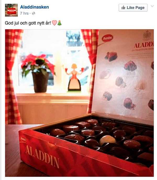 Aladdin la ut julhälsning på Facebook...
