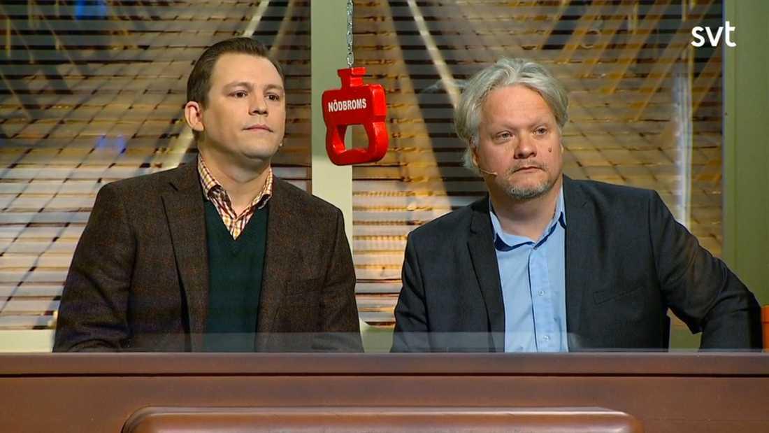 """Erik Ericson, 43, Kjell Wilhelmsen, 51, tävlar i hop i """"På spåret""""."""