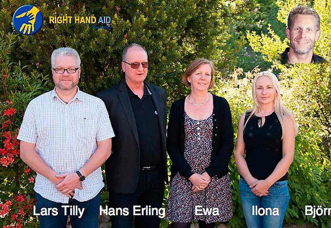 Righ Hand Aid  Styrelsen för Right hand aid med bland andra SD-politikern och styrelseordföranden Hans Erling Jensen. (Bild ur föreningens informationsbroschyr).