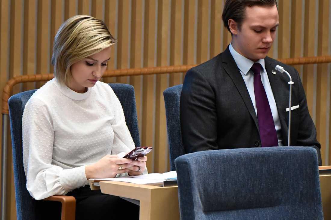 Ebba Busch Thor under Löfvens regeringsförklaring.