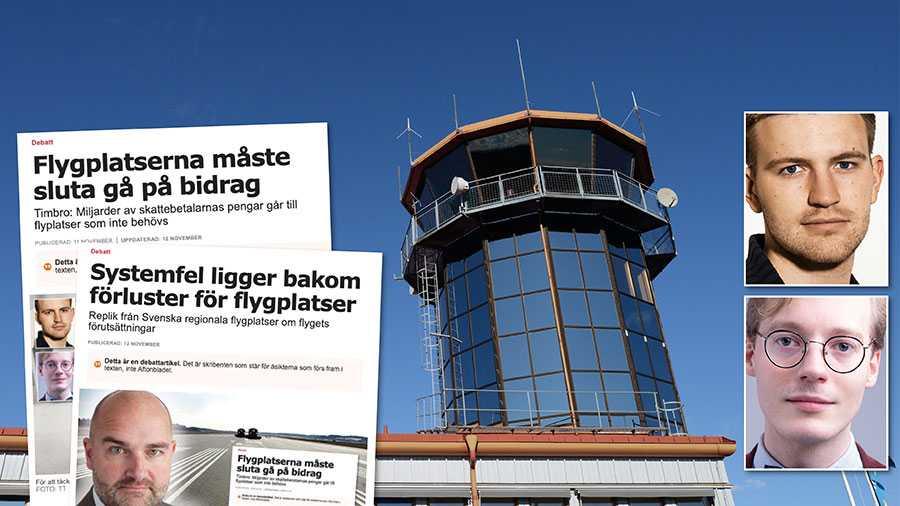 Lösningen på flygplatsernas problem är inte mer bidragspolitik, utan system där de i högre grad bär sina egna kostnader, skriver Erik Wahlström och Caspian Rehbinder.