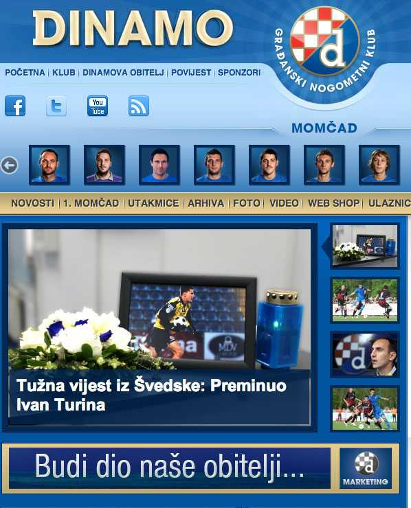 Dinamo Zagrebs hemsida.