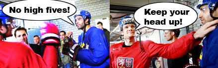 Skojbråket Johnny Oduya och Patrik Elias är lagkamrater i New Jersey Devils. I morgon möts de i VM-kvartsfinal.