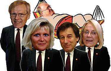 ledarna på rad Ulrica Messing ska försöka fylla ut Göran Perssons kosym under statsministerns semester. Laila Freivalds, Leif Pagrotsky och Bosse Ringholm tar sedan över. Montage: Fredrik Persson