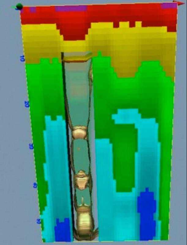 En grafik som tagits med en GPR KS-700 som sägs visa ett schakt under jord med ett 100 meter långt tåg.