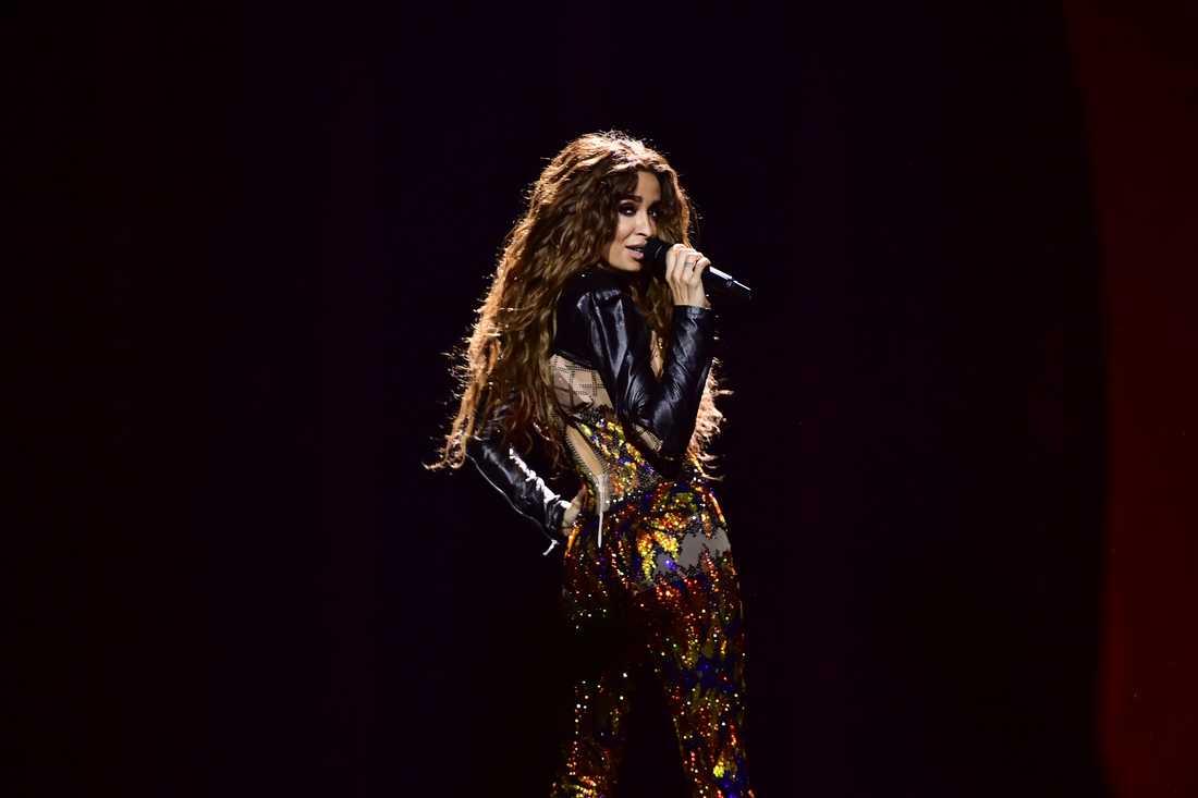 Cyperns Eleni Foureira på scenen under ett genrep