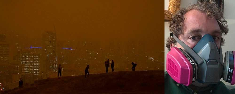 Rök från skogsbränderna har förmörkat himlen i San Fransisco i september. Till höger, Tomas Hemstad i P100-mask.