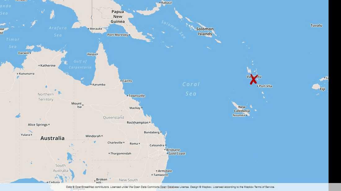 Orkanen Harold har nått Vanuatu i Stila havet.