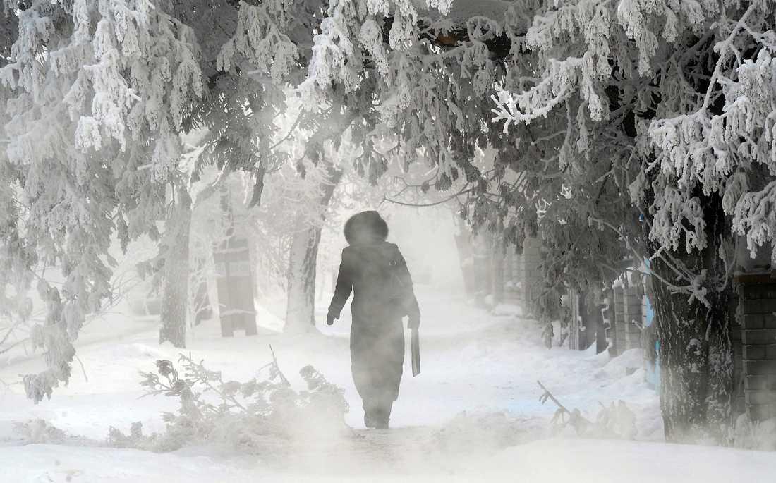 En kvinna på en snöig väg i poldovar, Kazakstan.
