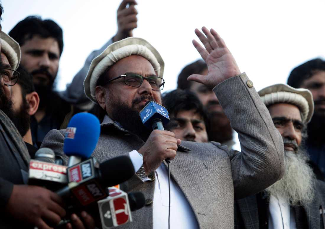 Hafiz Saeed under ett tal vid en demonstration i Lahore i Pakistan i februari 2019. Arkivbild.
