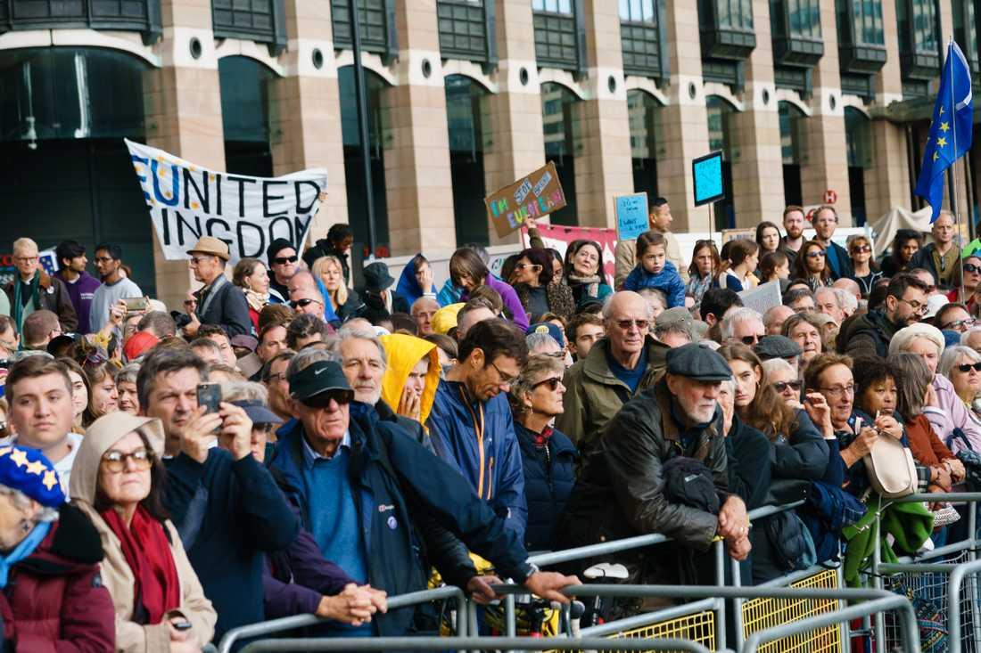 Protester utanför Westminster på lördagen.