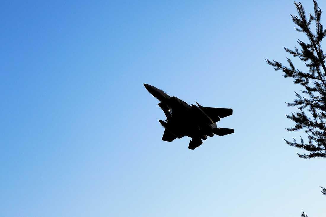 Ett F15-plan på väg mot F21 utanför Luleå i Natoövningen som Sverige deltar i.