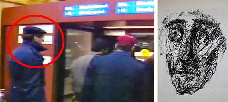 Den utpekade mannen på Arlanda dagen efter Palmemordet samt vittnets teckning av den man som flera personer observerade utanför biografen Grand under mordkvällen.