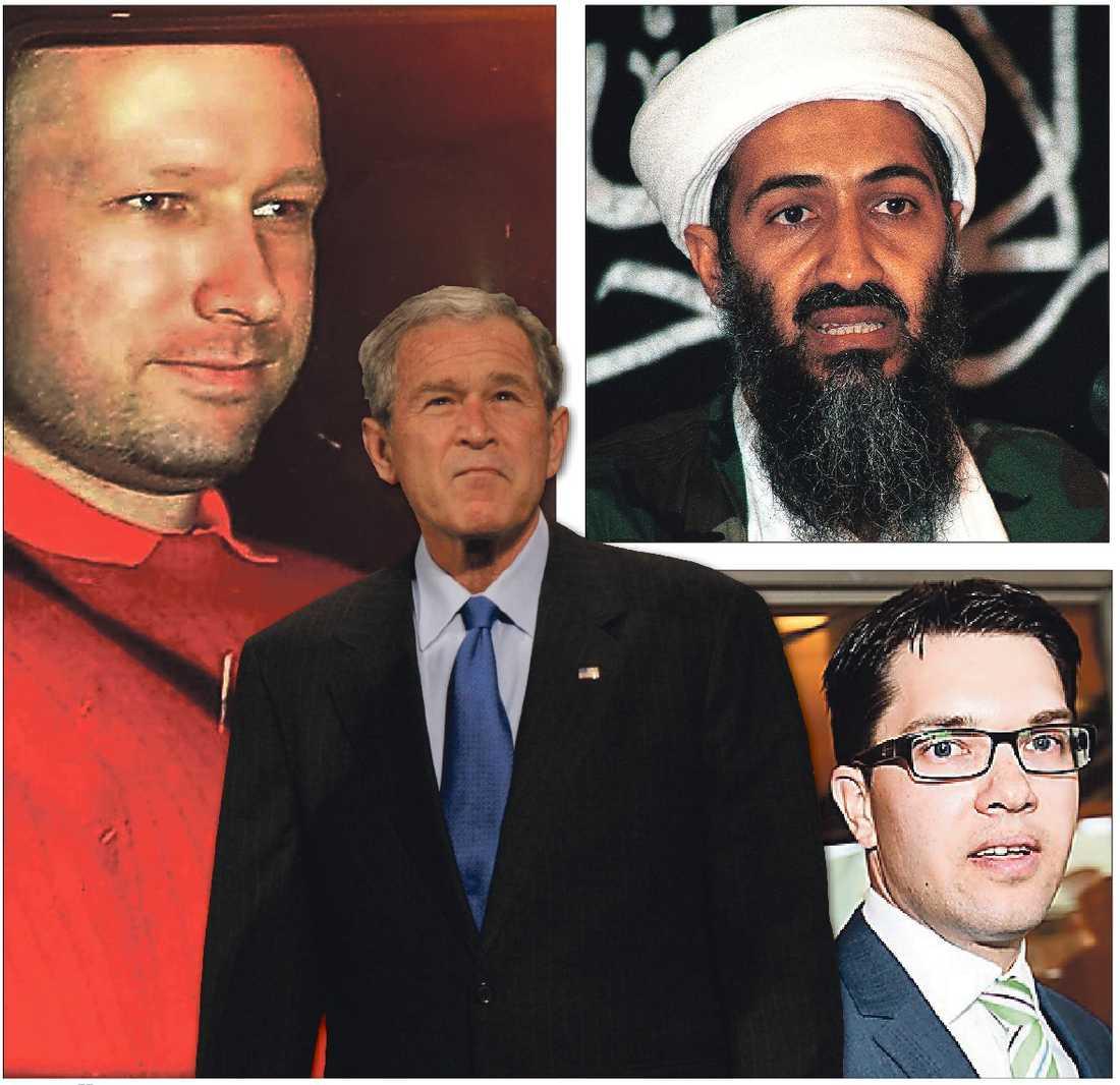 De hänger ihop – George W Bush, Anders Behring Breivik, Jimmie Åkesson och Usama bin Ladin.