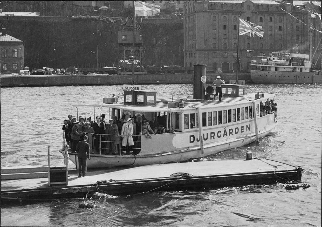 Slussen 50-tal Djurgårdsfärjan.
