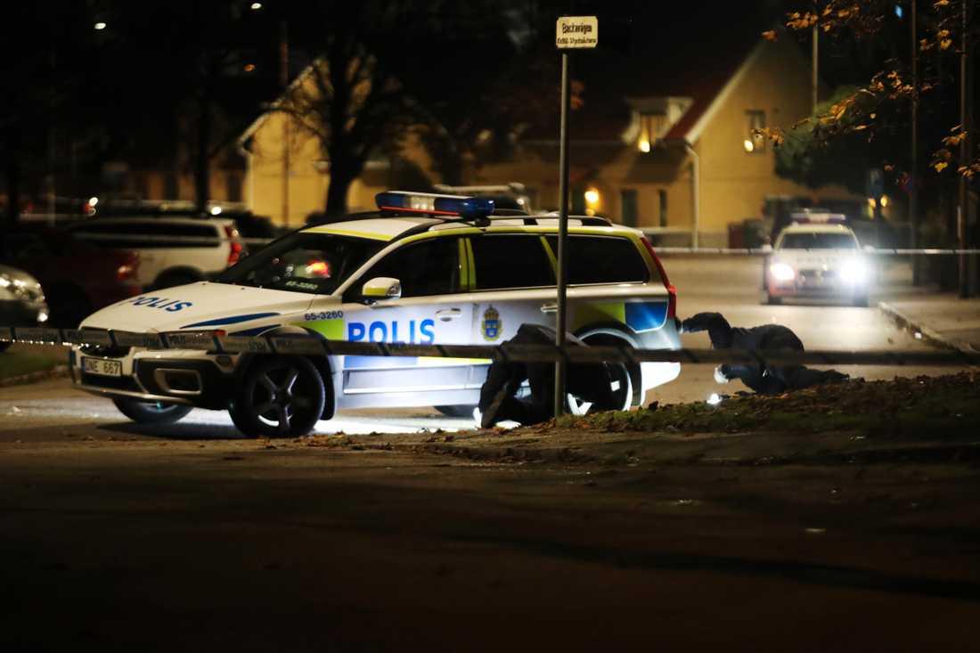 Polisens tekniker på plats.