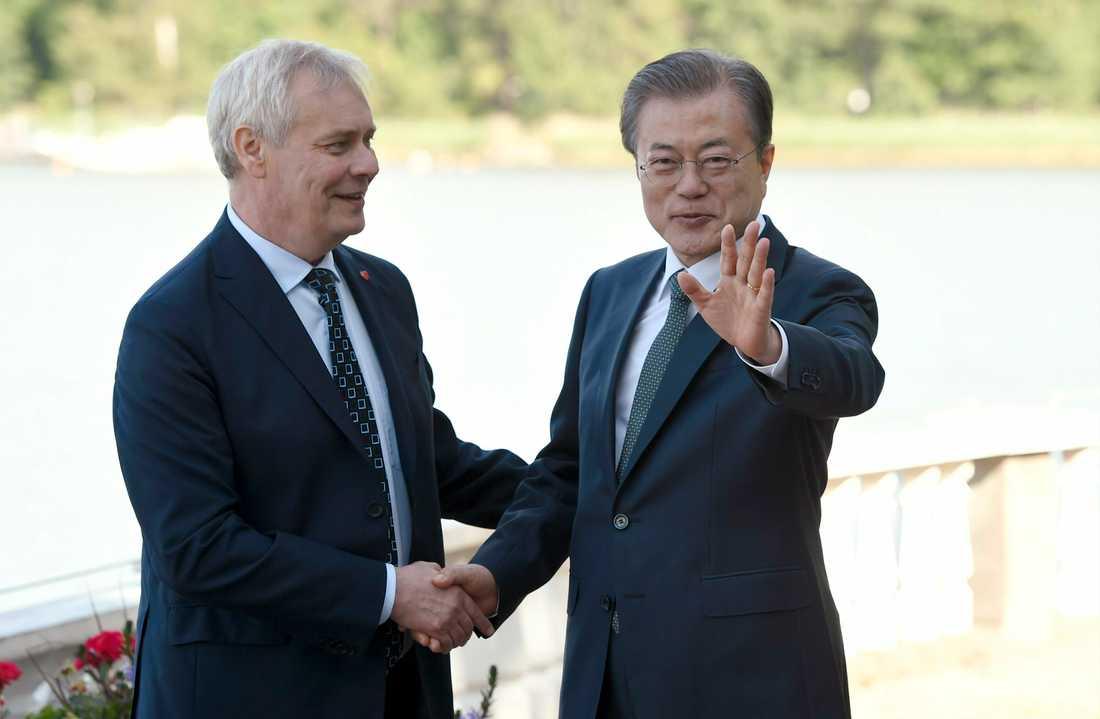 Sydkoreas president Moon Jae-In träffar Finlands premiärminister Antti Rinne i Helsingfors innan han reser vidare till bland annat Stockholm.