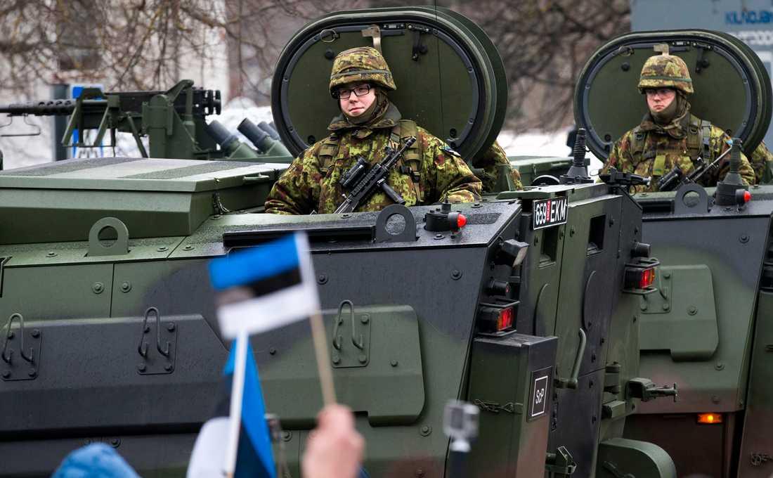 Estländska soldater under en Natoövning i Narva 2015.